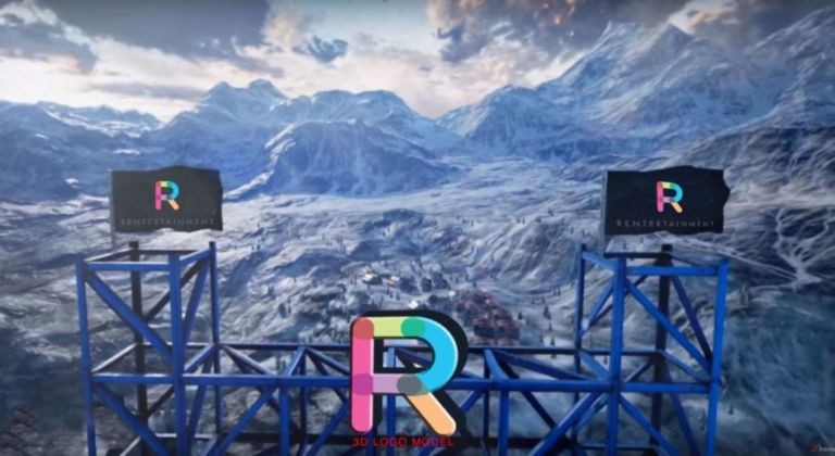 3d logo in vr game mountains